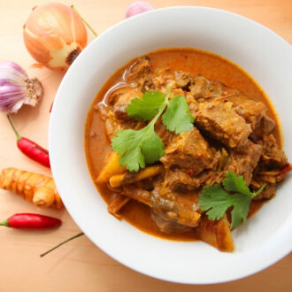 Curry Beef cooked